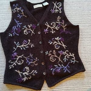 1990's vintage Sigrid Olson embroidered vest small